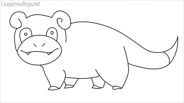 how to draw Slowpoke step by step