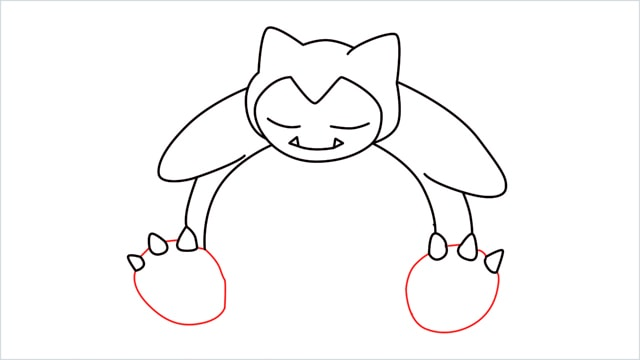 how to draw Snorlax step (8)