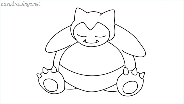 how to draw Snorlax step by step