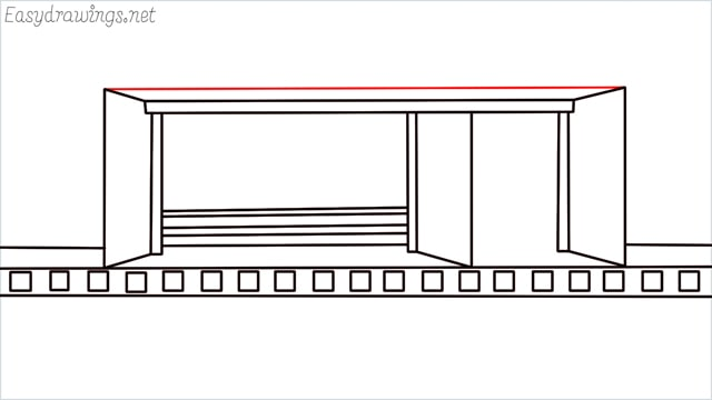 how to draw a Bus stop step (10)