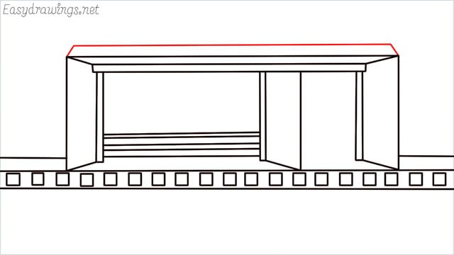 how to draw a Bus stop step (11)