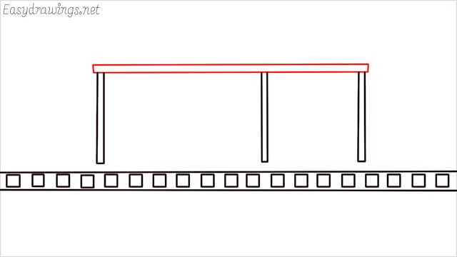 how to draw a Bus stop step (4)