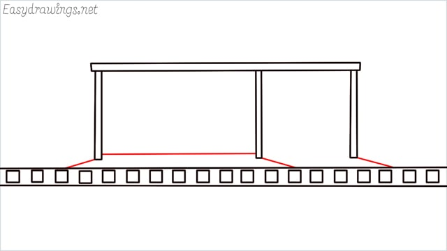 how to draw a Bus stop step (5)