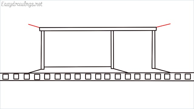 how to draw a Bus stop step (6)