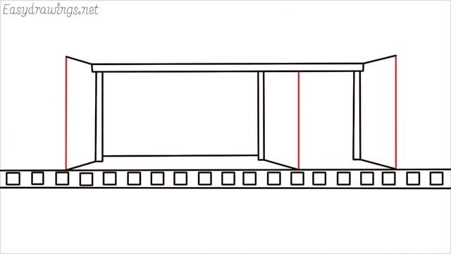 how to draw a Bus stop step (7)