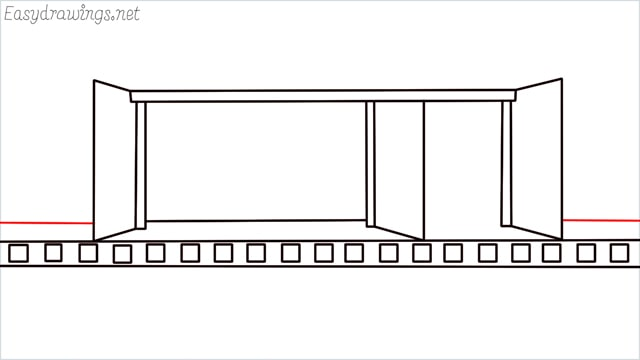 how to draw a Bus stop step (8)