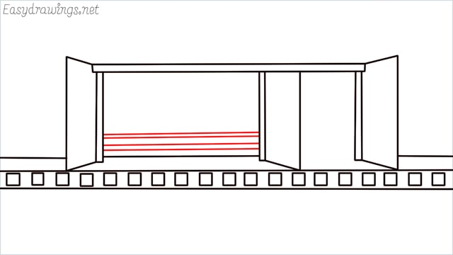 how to draw a Bus stop step (9)