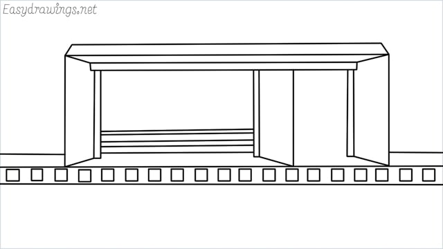how to draw a Bus stop step by step