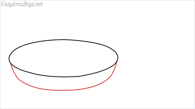 how to draw a Frying pan step (2)