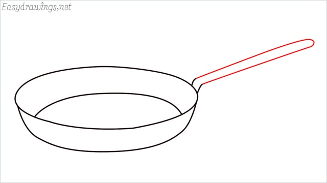 how to draw a Frying pan step (5)