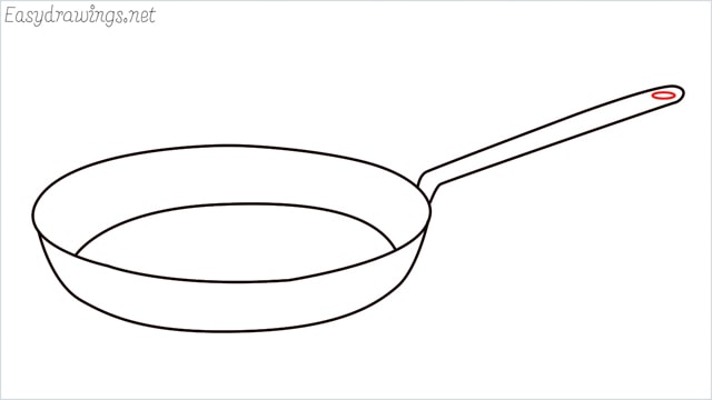 how to draw a Frying pan step (6)