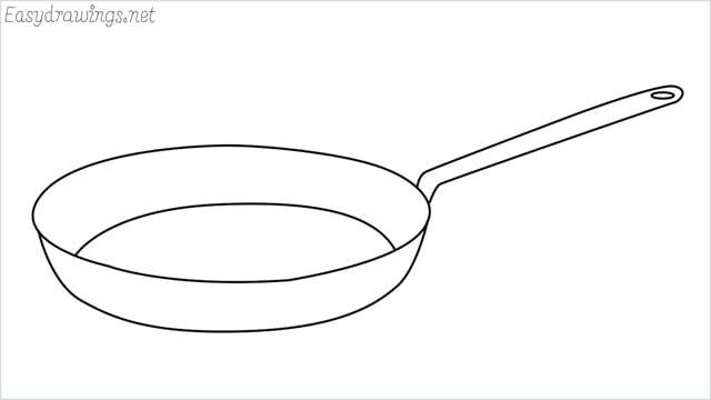 how to draw a Frying pan step by step
