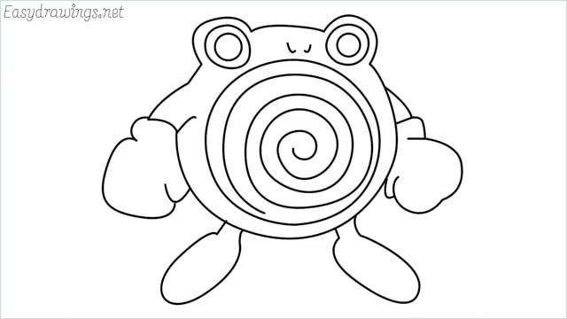 how to draw a Poliwhirl step by step