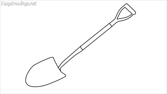 how to draw a Shovel step by step