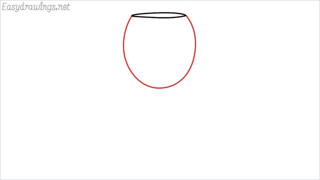 how to draw a Wine glass step (2)