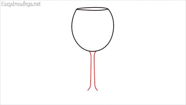 how to draw a Wine glass step (3)