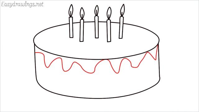 how to draw a birthday cake step (7)