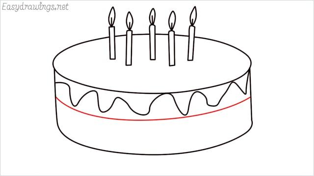 how to draw a birthday cake step (8)