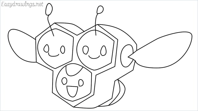 how to draw a combee step by step