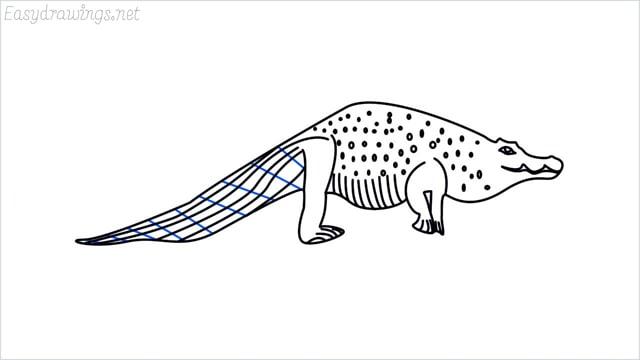 how to draw a crocodile step (14)