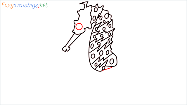 how to draw a cute seahorse Step (6)