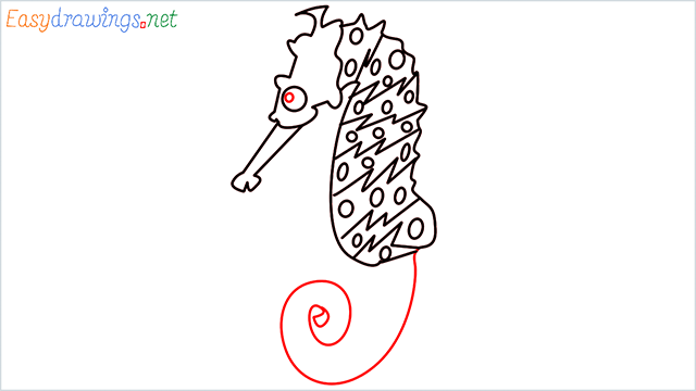 how to draw a cute seahorse Step (7)