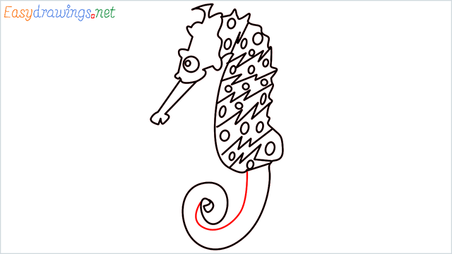 how to draw a cute seahorse Step (8)