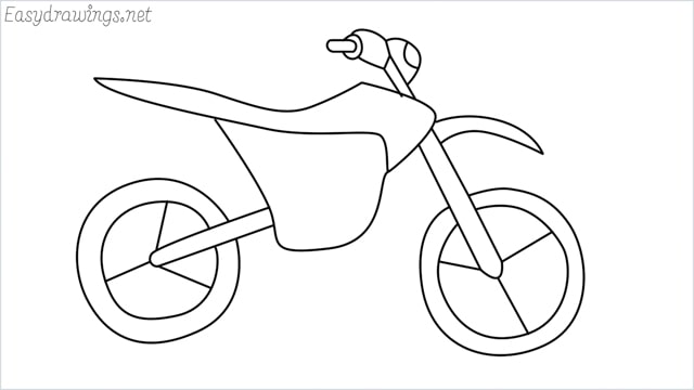 how to draw a dirt bike step by step