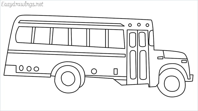 how to draw a school bus step by step
