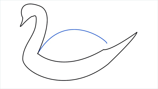 how to draw a swimming swan step (5)