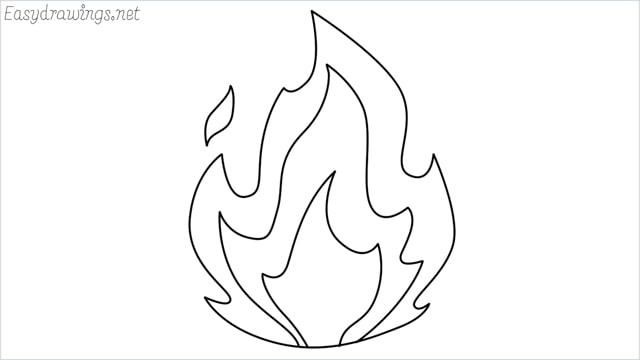 how to draw fire step by step