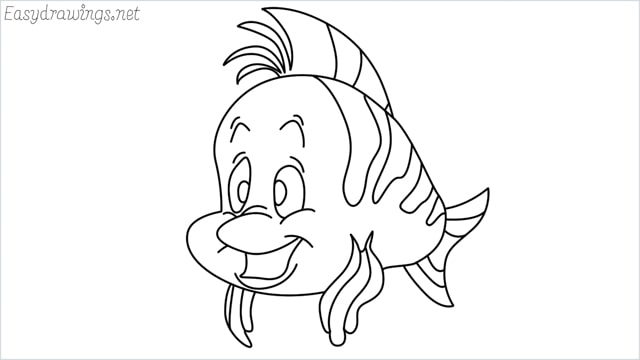 how to draw flounder step by step