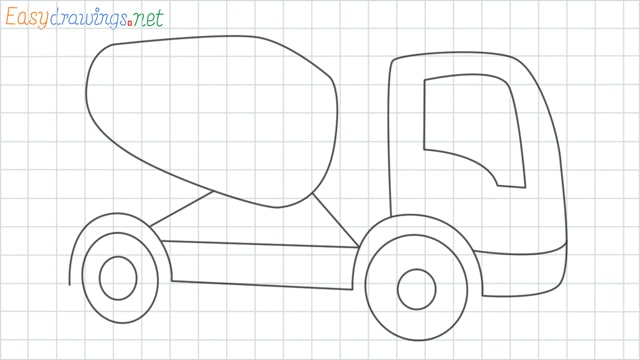 Cement truck grid line drawing