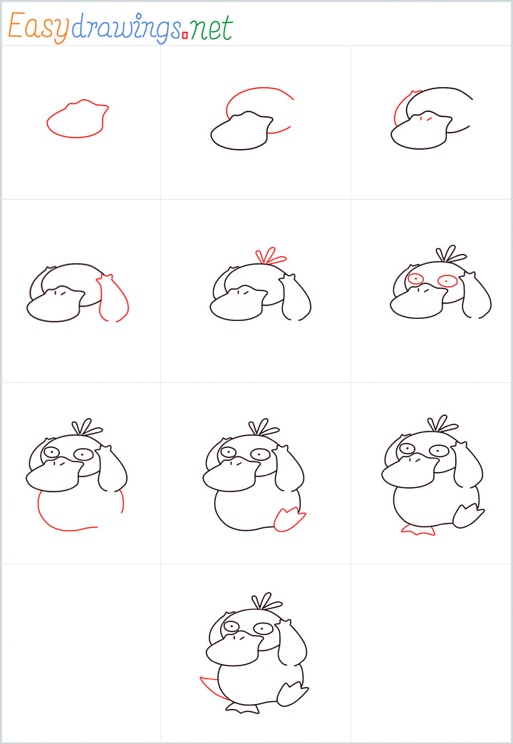 Psyduck drawing pin for pinterest