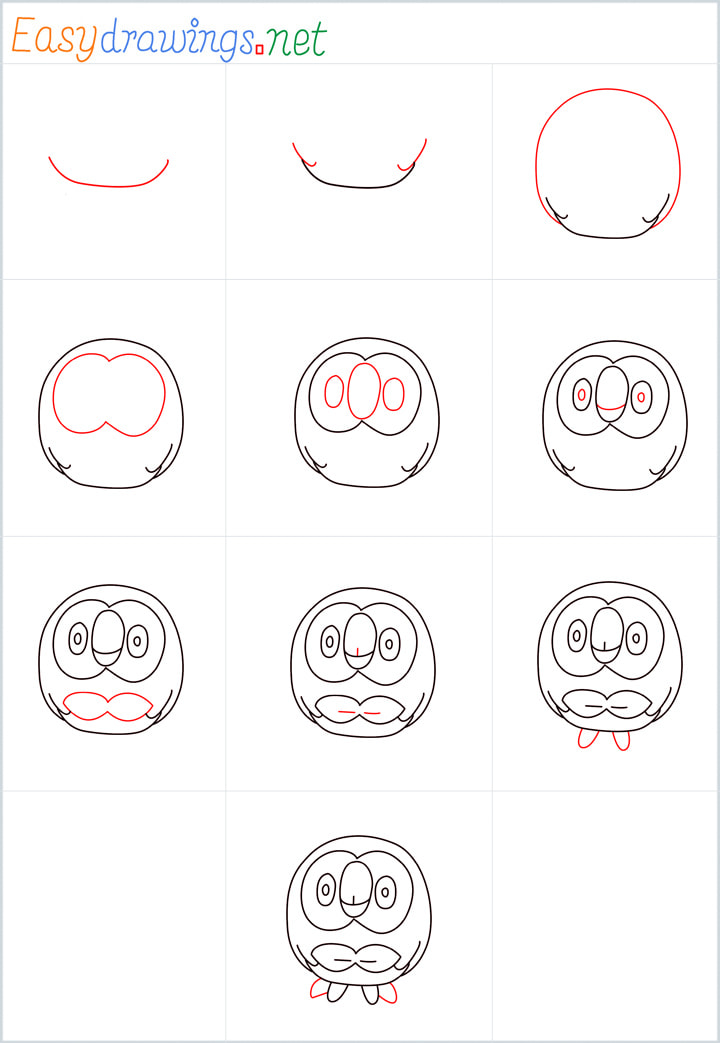 Rowlet drawing pin for pinterest