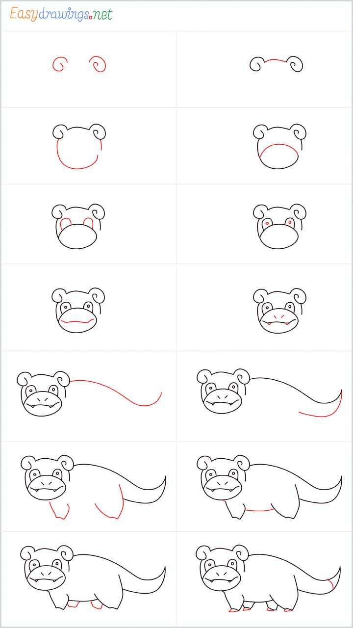Slowpoke drawing pin for pinterest