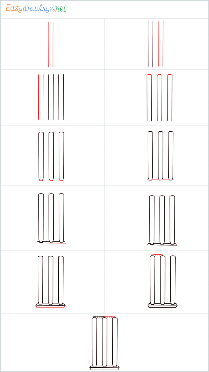 all in one steps for Cricket stumps drawing