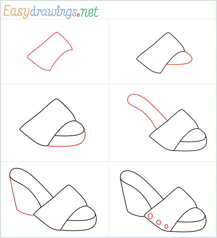 all in one steps for Sandals drawing