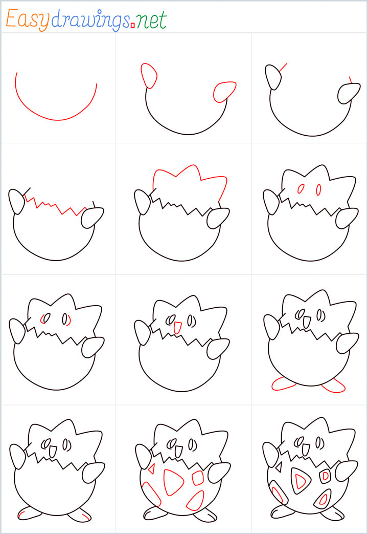 all reference outline drawing in one place for Togepi drawing tutorial