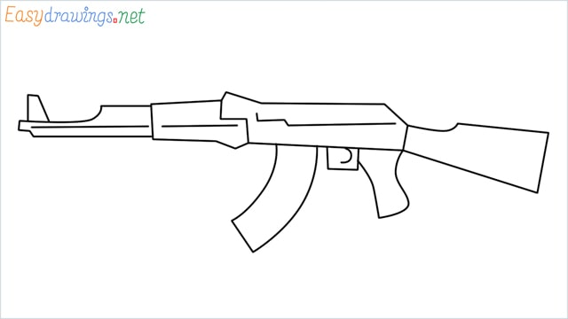 How to drawing a ak 47 step by step for beginners