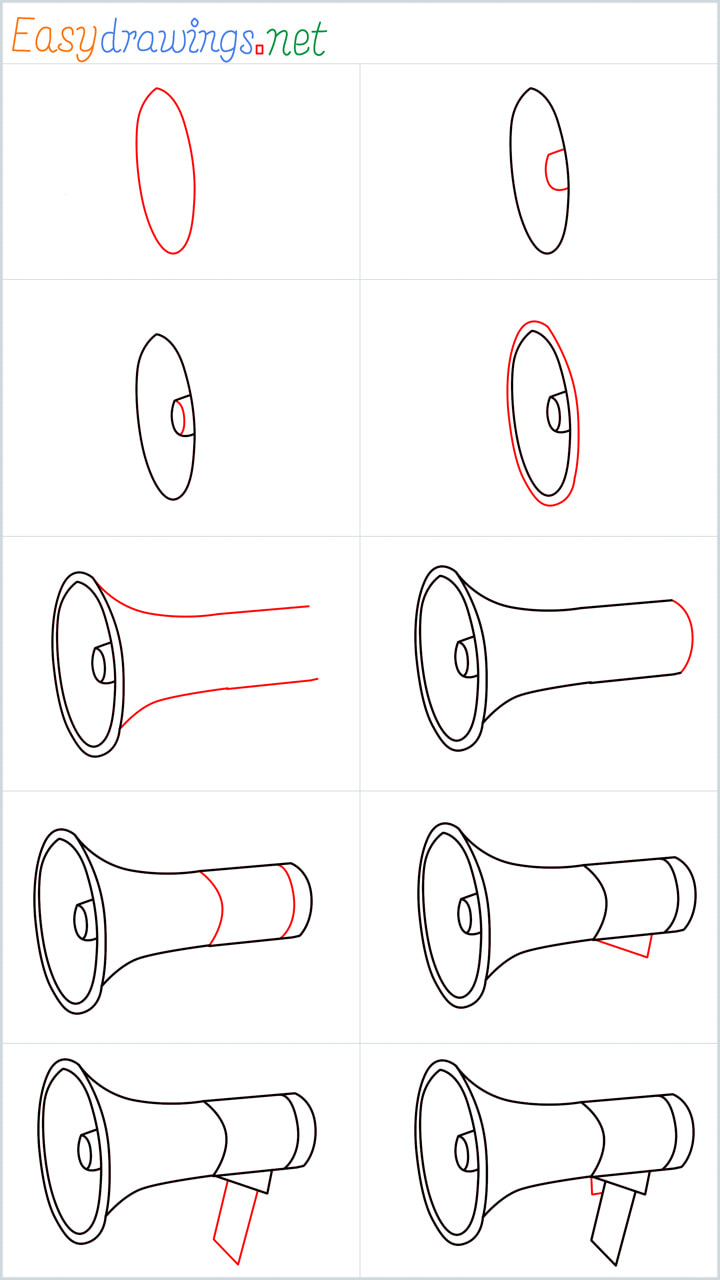 all reference outline drawing in one place for Megaphone drawing tutorial