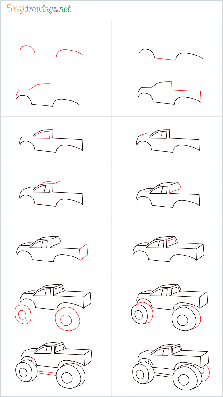 all reference outline drawing in one place for Monster truck drawing tutorial