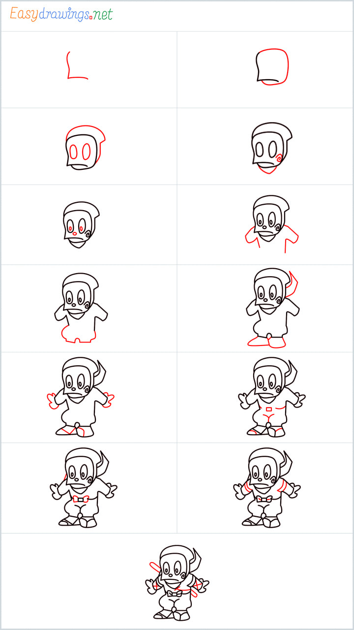 all reference outline drawing in one place for Ninja drawing tutorial