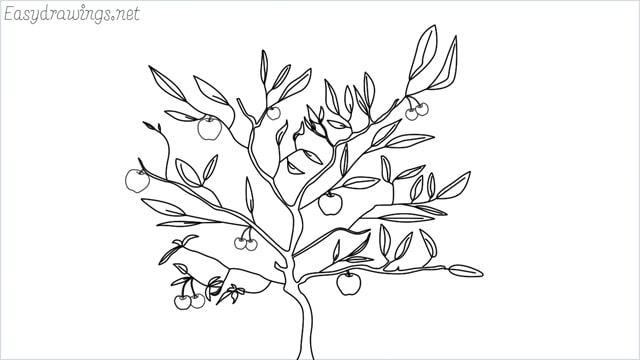 how to draw a apple tree drawing step by step for beginners