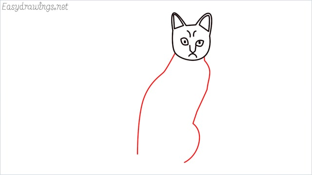 how to draw a sitting cat (7)