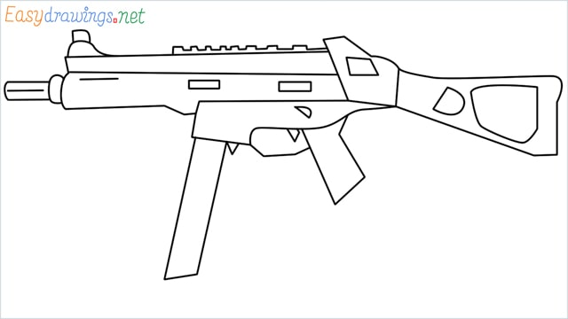 How to draw ump9(ump45) step by step for beginners