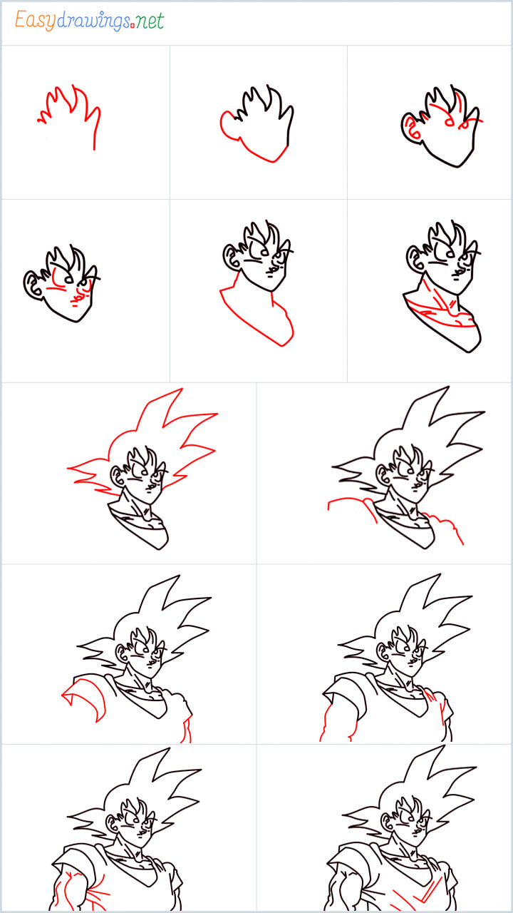 all outline for Goku drawing example