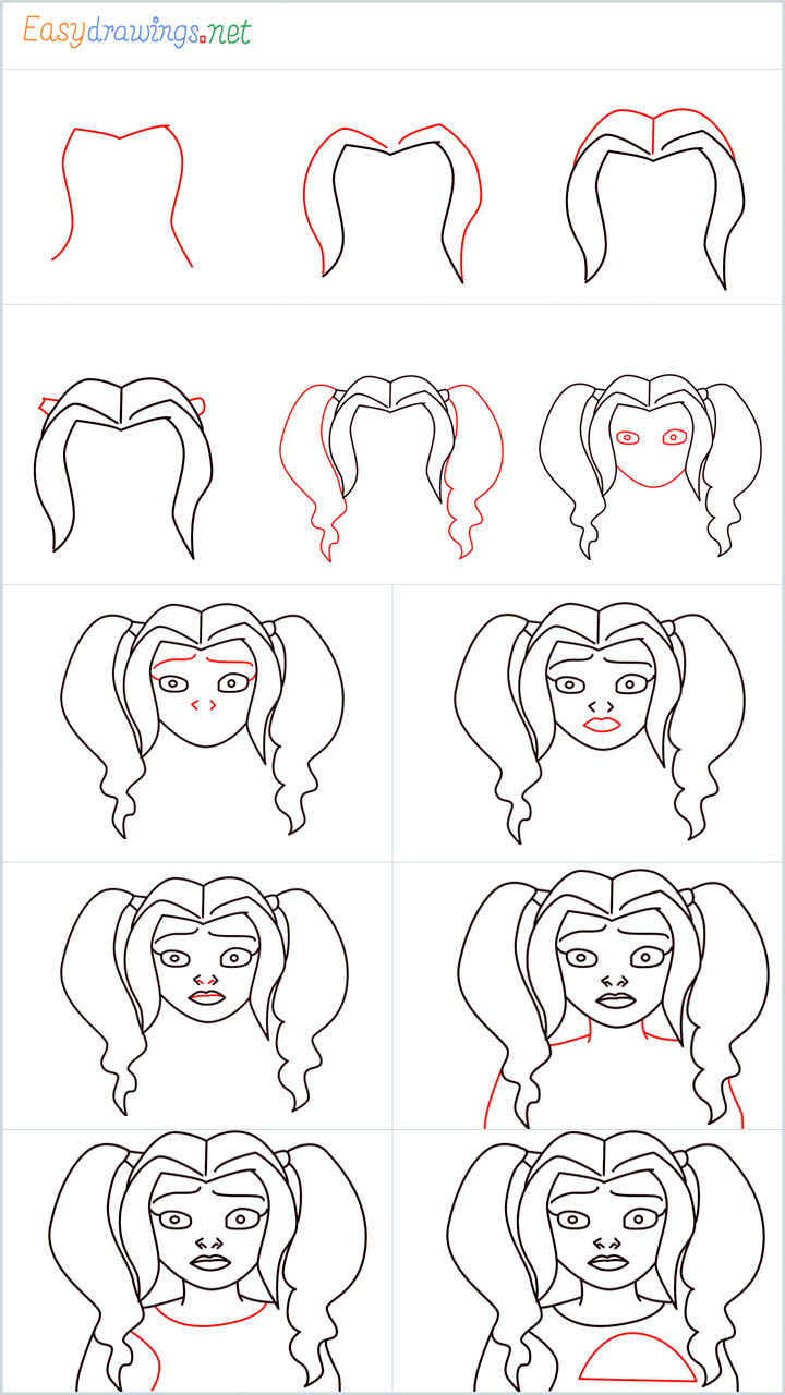all outline for Harley quinn drawing example