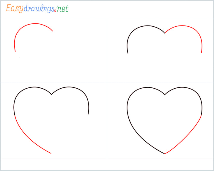 all outline for Heart shape drawing example