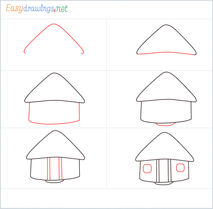all outline for Hut drawing example